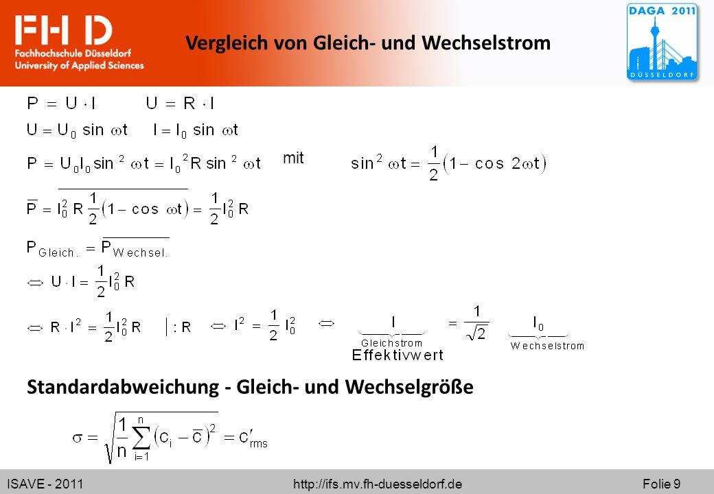 ISAVE - 2011 http://ifs.mv.fh-duesseldorf.de Folie 9 mit Vergleich von Gleich- und Wechselstrom Standardabweichung - Gleich- und Wechselgröße