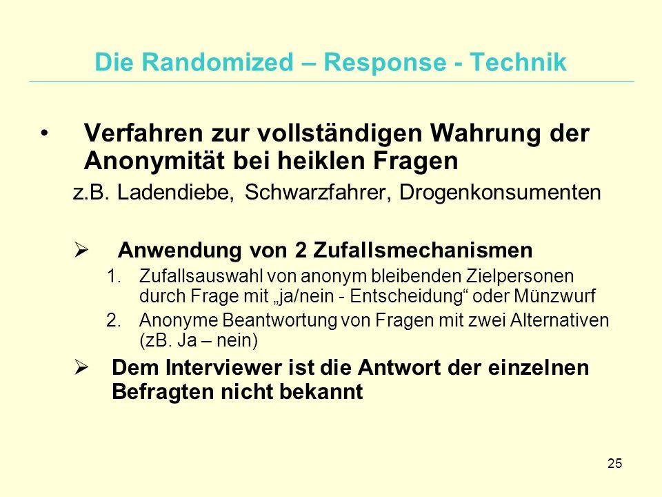 25 Die Randomized – Response - Technik Verfahren zur vollständigen Wahrung der Anonymität bei heiklen Fragen z.B. Ladendiebe, Schwarzfahrer, Drogenkon