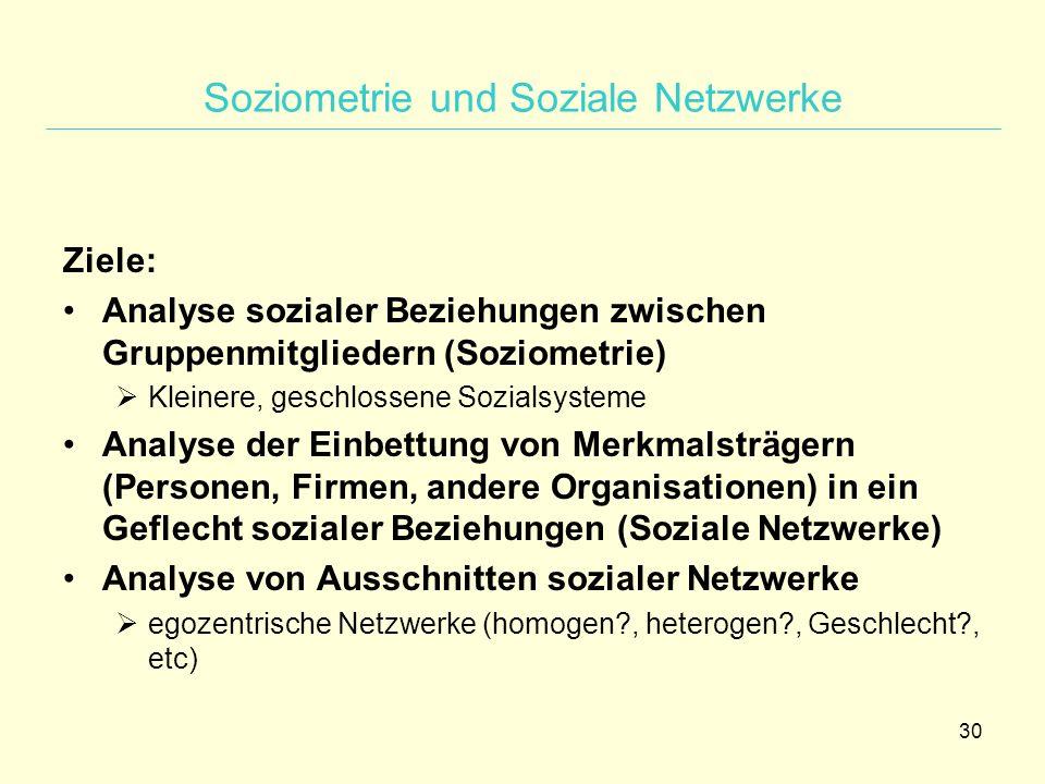 30 Soziometrie und Soziale Netzwerke Ziele: Analyse sozialer Beziehungen zwischen Gruppenmitgliedern (Soziometrie)  Kleinere, geschlossene Sozialsyst