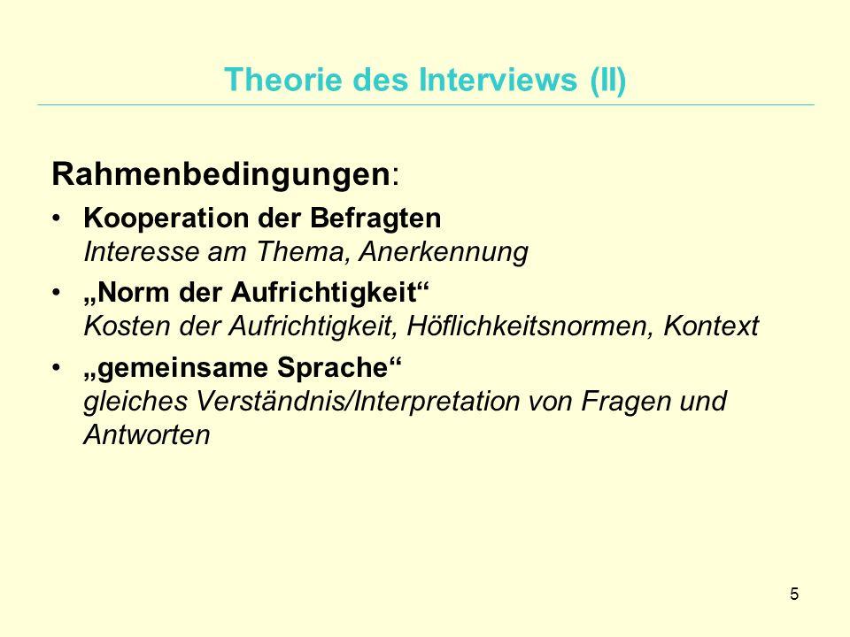 """5 Theorie des Interviews (II) Rahmenbedingungen: Kooperation der Befragten Interesse am Thema, Anerkennung """"Norm der Aufrichtigkeit"""" Kosten der Aufric"""