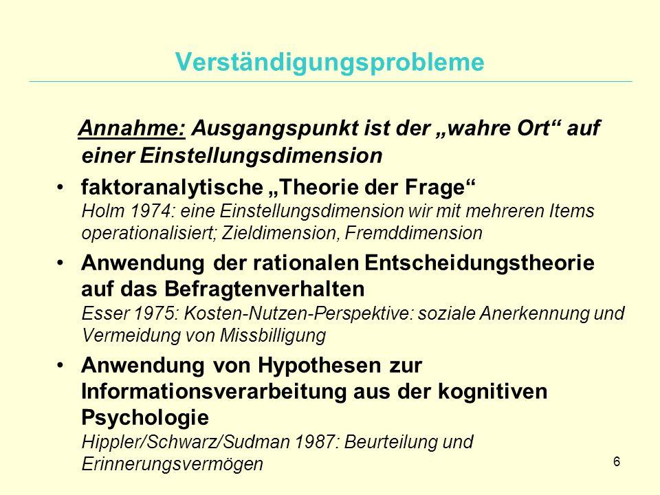 """6 Verständigungsprobleme Annahme: Ausgangspunkt ist der """"wahre Ort"""" auf einer Einstellungsdimension faktoranalytische """"Theorie der Frage"""" Holm 1974: e"""
