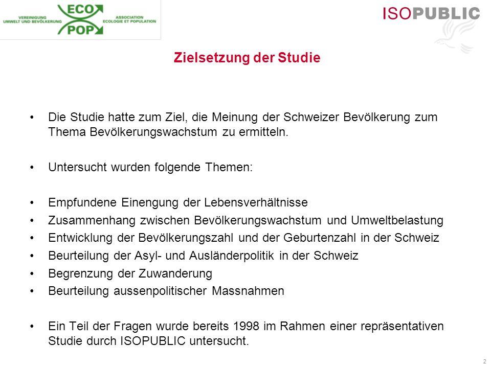 2 Zielsetzung der Studie Die Studie hatte zum Ziel, die Meinung der Schweizer Bevölkerung zum Thema Bevölkerungswachstum zu ermitteln. Untersucht wurd