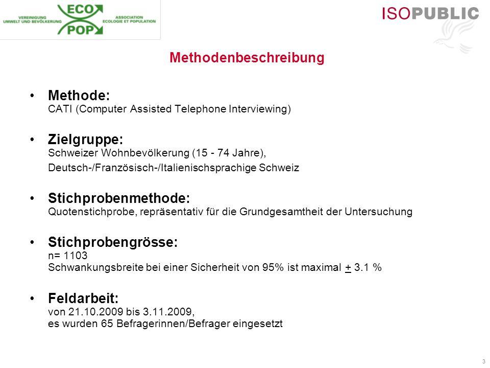 3 Methodenbeschreibung Methode: CATI (Computer Assisted Telephone Interviewing) Zielgruppe: Schweizer Wohnbevölkerung (15 - 74 Jahre), Deutsch-/Franzö