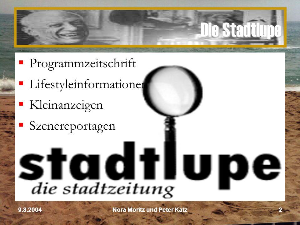 Nora Moritz und Peter Katz139.8.2004 Ziele im ersten Jahr  Umsatz von 500.000 €  20% Markanteil  Werbepartner akquirieren