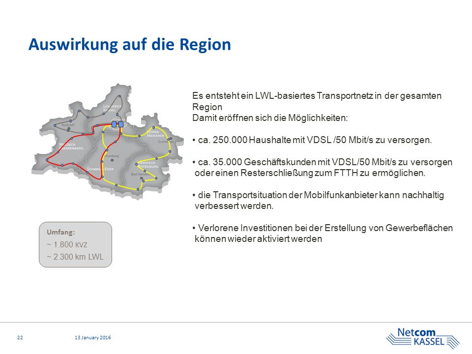 2213 January 2016 Auswirkung auf die Region Umfang: ~ 1.800 KVZ ~ 2.300 km LWL Es entsteht ein LWL-basiertes Transportnetz in der gesamten Region Damit eröffnen sich die Möglichkeiten: ca.