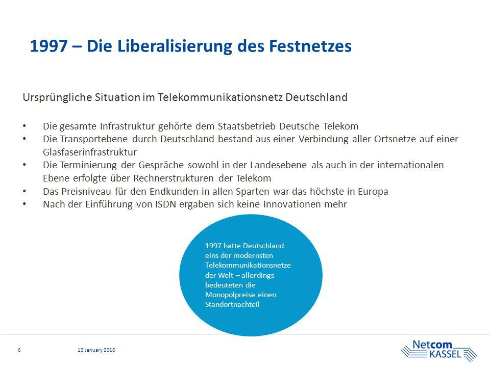613 January 2016 1997 – Die Liberalisierung des Festnetzes Ursprüngliche Situation im Telekommunikationsnetz Deutschland Die gesamte Infrastruktur geh