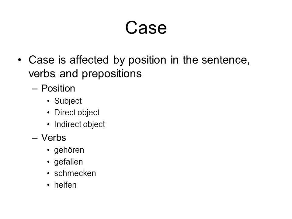 Prepositions There are 4 catergories of prepositions –Akkusative durch fuer ohne gegen um –Dative aus ausser bei mit nach seit von zu gegenueber –2 way an auf hinter in neben ueber unter vor zwischen –Genetive anstatt trotz(dem) waehrend wegen