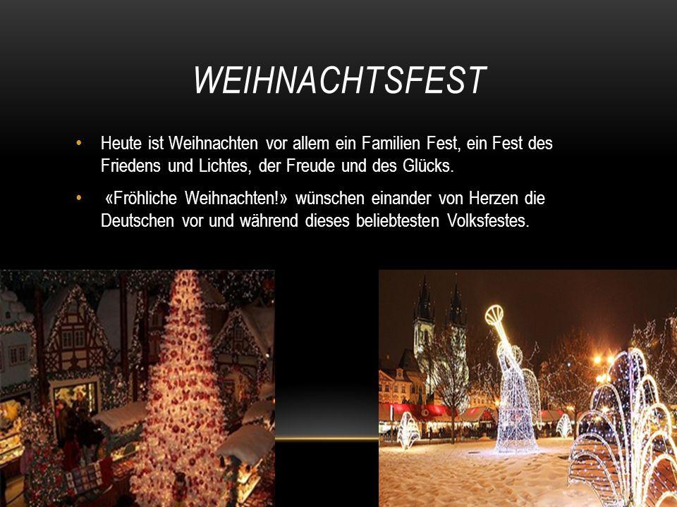 Heute ist Weihnachten vor allem ein Familien Fest, ein Fest des Friedens und Lichtes, der Freude und des Glücks.