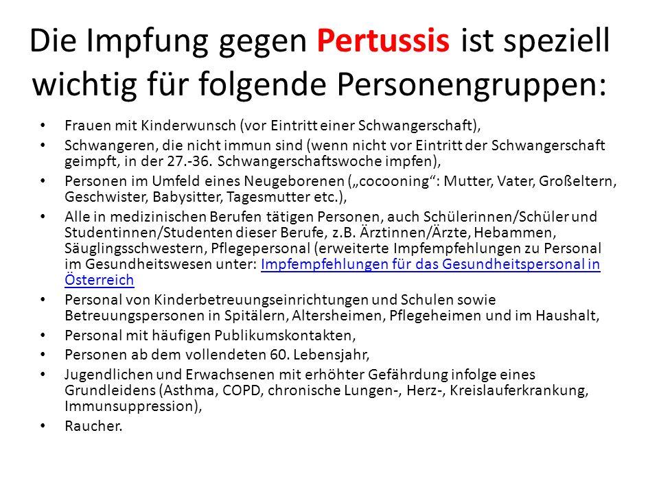 Die Impfung gegen Pertussis ist speziell wichtig für folgende Personengruppen: Frauen mit Kinderwunsch (vor Eintritt einer Schwangerschaft), Schwanger