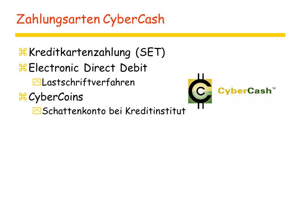 Zahlungsarten CyberCash zKreditkartenzahlung (SET) zElectronic Direct Debit yLastschriftverfahren zCyberCoins ySchattenkonto bei Kreditinstitut