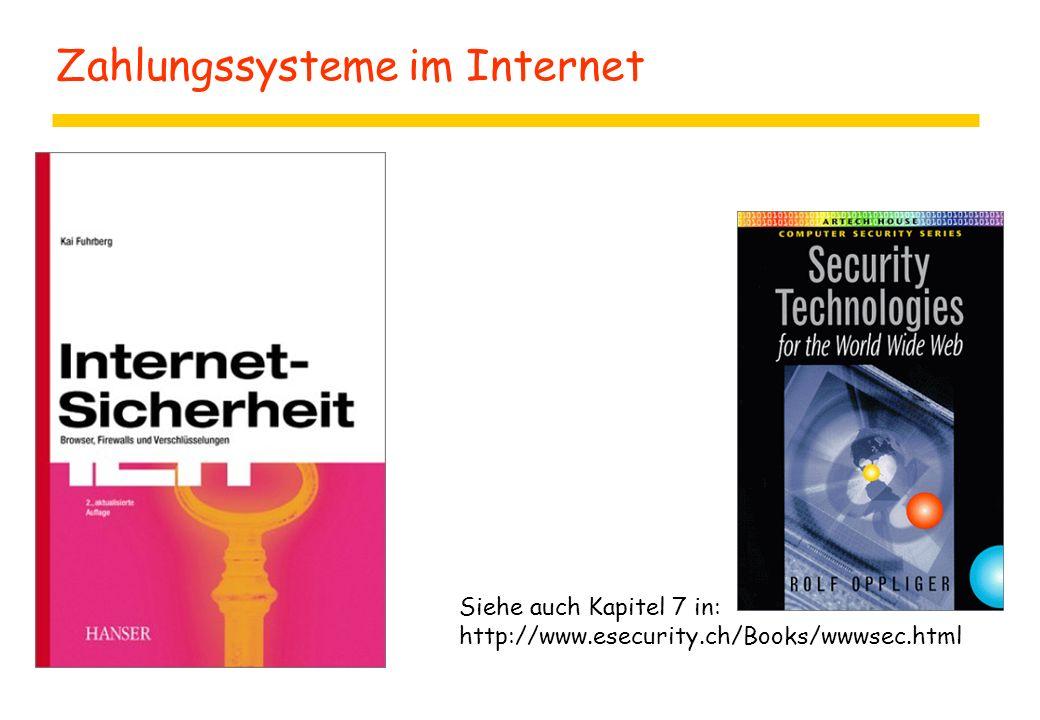 Zahlungssysteme im Internet Siehe auch Kapitel 7 in: http://www.esecurity.ch/Books/wwwsec.html