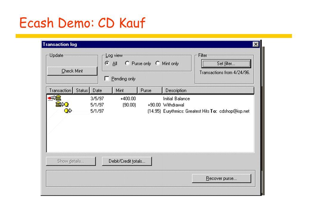 Ecash Demo: CD Kauf