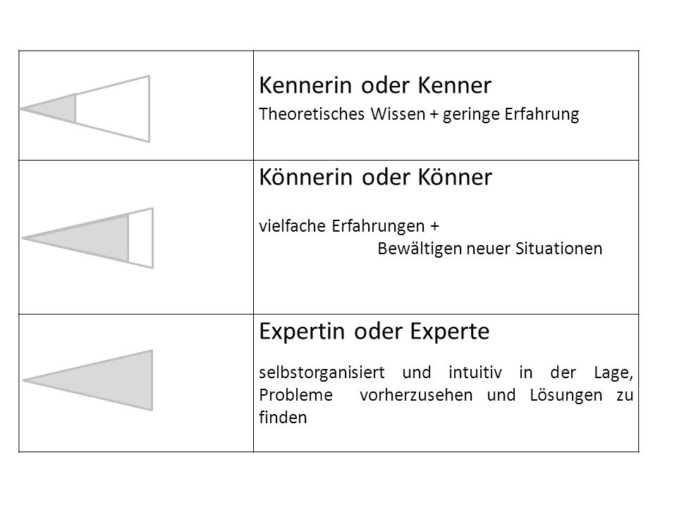 Kennerin oder Kenner Theoretisches Wissen + geringe Erfahrung Könnerin oder Könner vielfache Erfahrungen + Bewältigen neuer Situationen Expertin oder Experte selbstorganisiert und intuitiv in der Lage, Probleme vorherzusehen und Lösungen zu finden