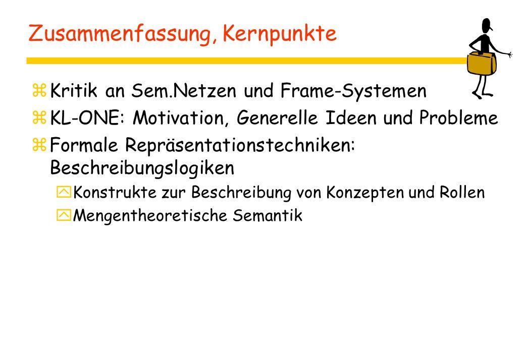 Zusammenfassung, Kernpunkte zKritik an Sem.Netzen und Frame-Systemen zKL-ONE: Motivation, Generelle Ideen und Probleme zFormale Repräsentationstechniken: Beschreibungslogiken yKonstrukte zur Beschreibung von Konzepten und Rollen yMengentheoretische Semantik