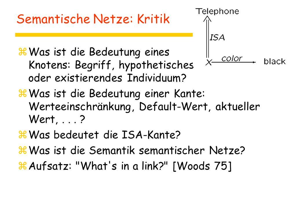 Semantische Netze: Kritik zWas ist die Bedeutung eines Knotens: Begriff, hypothetisches oder existierendes Individuum.