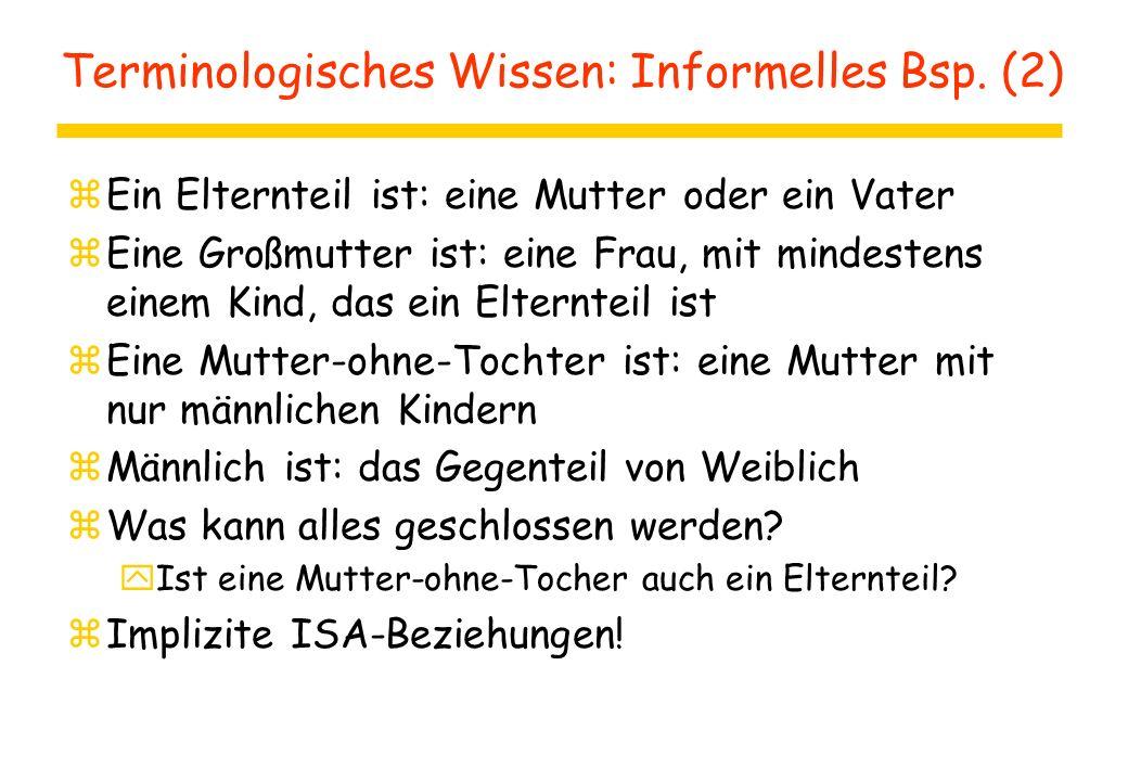 Assertorisches Wissen: Informelles Bsp.
