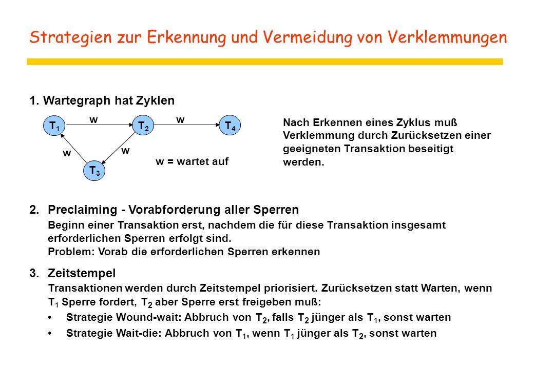 Strategien zur Erkennung und Vermeidung von Verklemmungen 1.