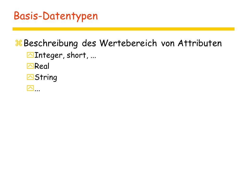 Basis-Datentypen zBeschreibung des Wertebereich von Attributen yInteger, short,... yReal yString y...