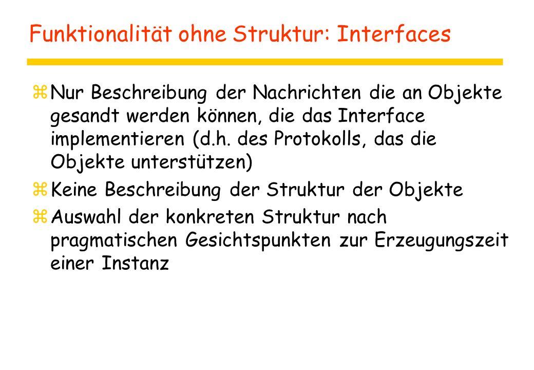 Funktionalität ohne Struktur: Interfaces zNur Beschreibung der Nachrichten die an Objekte gesandt werden können, die das Interface implementieren (d.h.