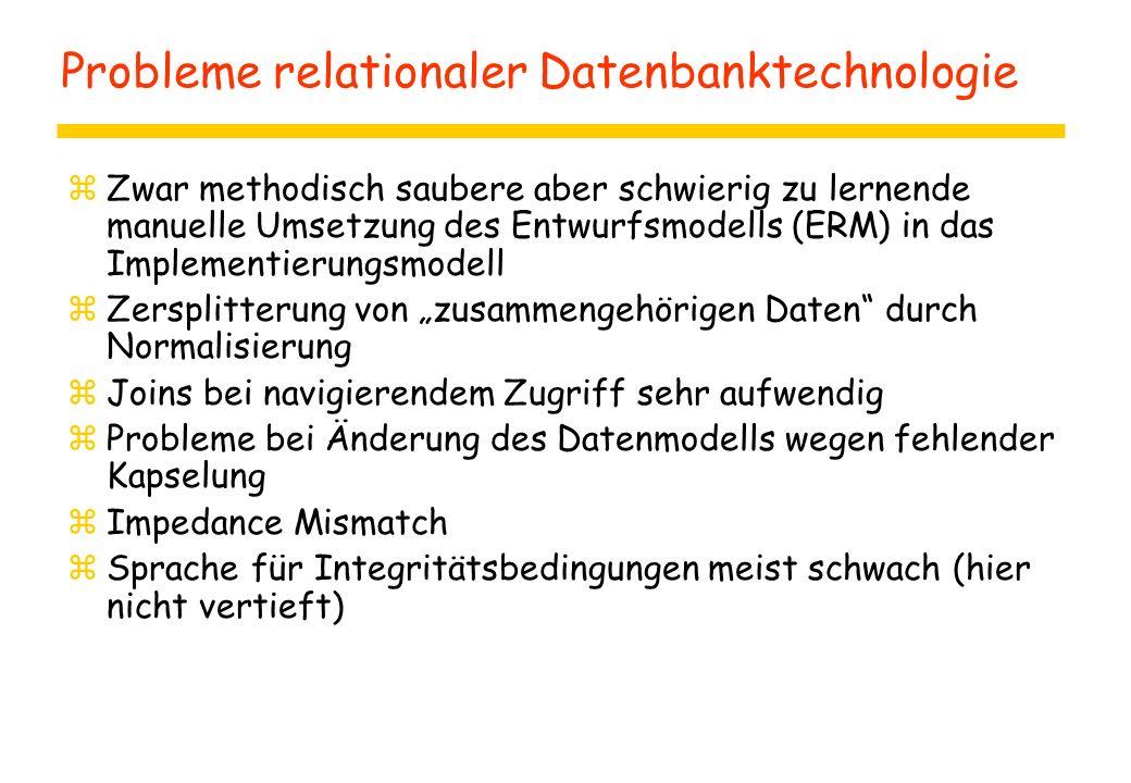 Probleme relationaler Datenbanktechnologie zZwar methodisch saubere aber schwierig zu lernende manuelle Umsetzung des Entwurfsmodells (ERM) in das Imp