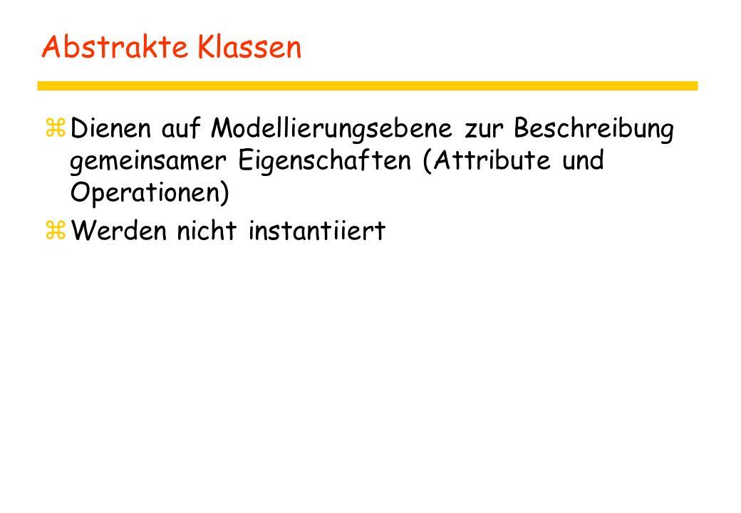 Abstrakte Klassen zDienen auf Modellierungsebene zur Beschreibung gemeinsamer Eigenschaften (Attribute und Operationen) zWerden nicht instantiiert