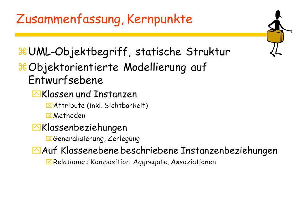 Zusammenfassung, Kernpunkte zUML-Objektbegriff, statische Struktur zObjektorientierte Modellierung auf Entwurfsebene yKlassen und Instanzen xAttribute (inkl.