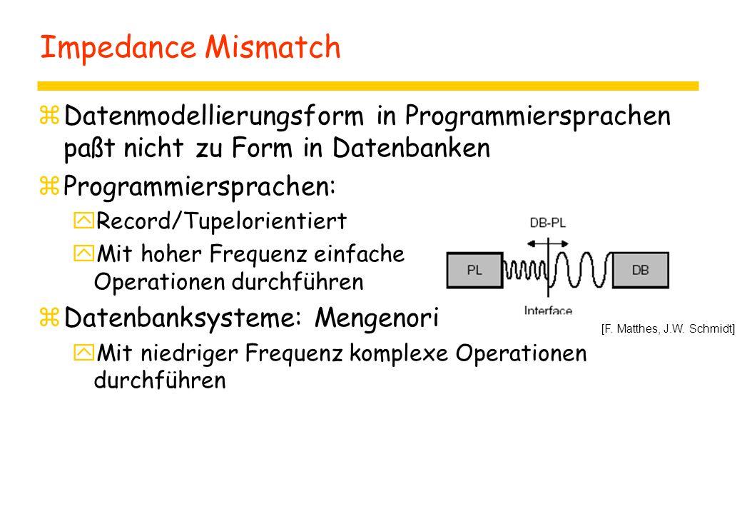 Impedance Mismatch zDatenmodellierungsform in Programmiersprachen paßt nicht zu Form in Datenbanken zProgrammiersprachen: yRecord/Tupelorientiert yMit hoher Frequenz einfache Operationen durchführen zDatenbanksysteme: Mengenorientiert yMit niedriger Frequenz komplexe Operationen durchführen [F.
