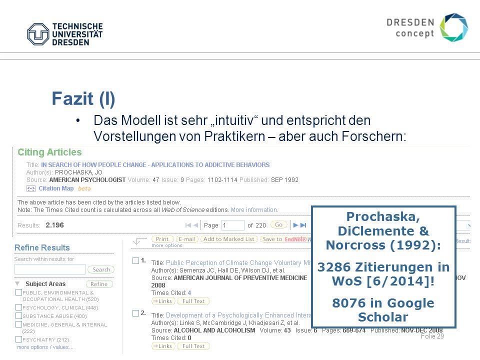 """Fazit (I) Das Modell ist sehr """"intuitiv und entspricht den Vorstellungen von Praktikern – aber auch Forschern: 18.06.2015Gesundheitspsychologie Prochaska, DiClemente & Norcross (1992): 3286 Zitierungen in WoS [6/2014]."""