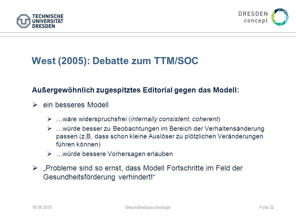 West (2005): Debatte zum TTM/SOC Außergewöhnlich zugespitztes Editorial gegen das Modell:  ein besseres Modell  …wäre widerspruchsfrei (internally consistent, coherent)  …würde besser zu Beobachtungen im Bereich der Verhaltensänderung passen (z.B.