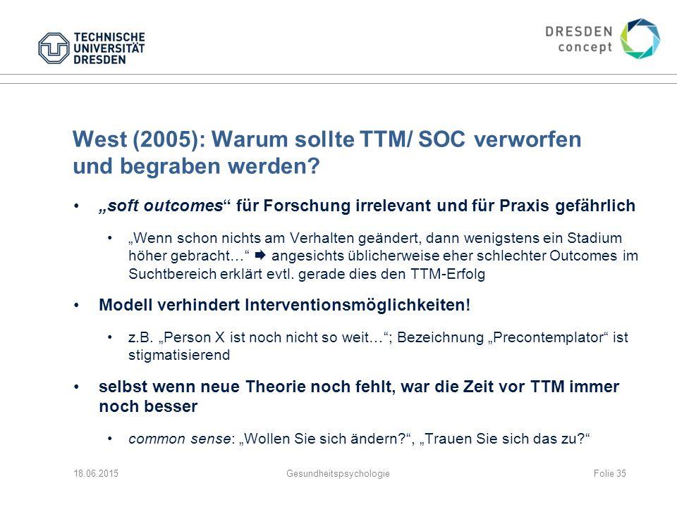 West (2005): Warum sollte TTM/ SOC verworfen und begraben werden.
