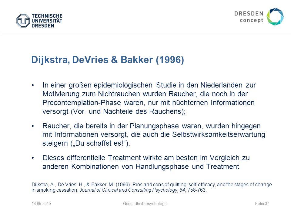 """Dijkstra, DeVries & Bakker (1996) In einer großen epidemiologischen Studie in den Niederlanden zur Motivierung zum Nichtrauchen wurden Raucher, die noch in der Precontemplation-Phase waren, nur mit nüchternen Informationen versorgt (Vor- und Nachteile des Rauchens); Raucher, die bereits in der Planungsphase waren, wurden hingegen mit Informationen versorgt, die auch die Selbstwirksamkeitserwartung steigern (""""Du schaffst es! )."""