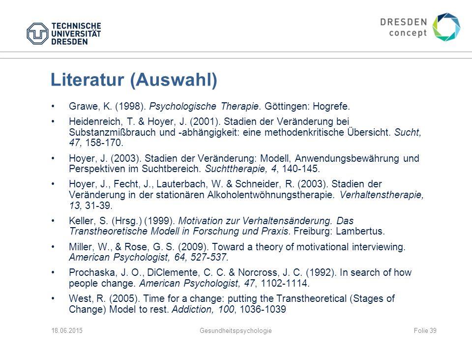 Literatur (Auswahl) Grawe, K.(1998). Psychologische Therapie.