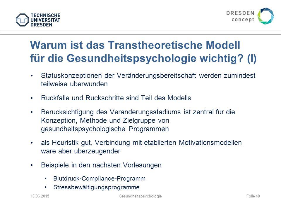 Warum ist das Transtheoretische Modell für die Gesundheitspsychologie wichtig.