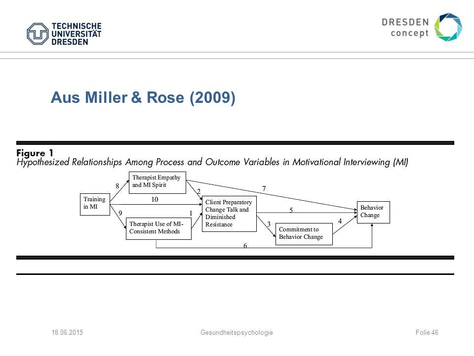 Aus Miller & Rose (2009) 18.06.2015GesundheitspsychologieFolie 46