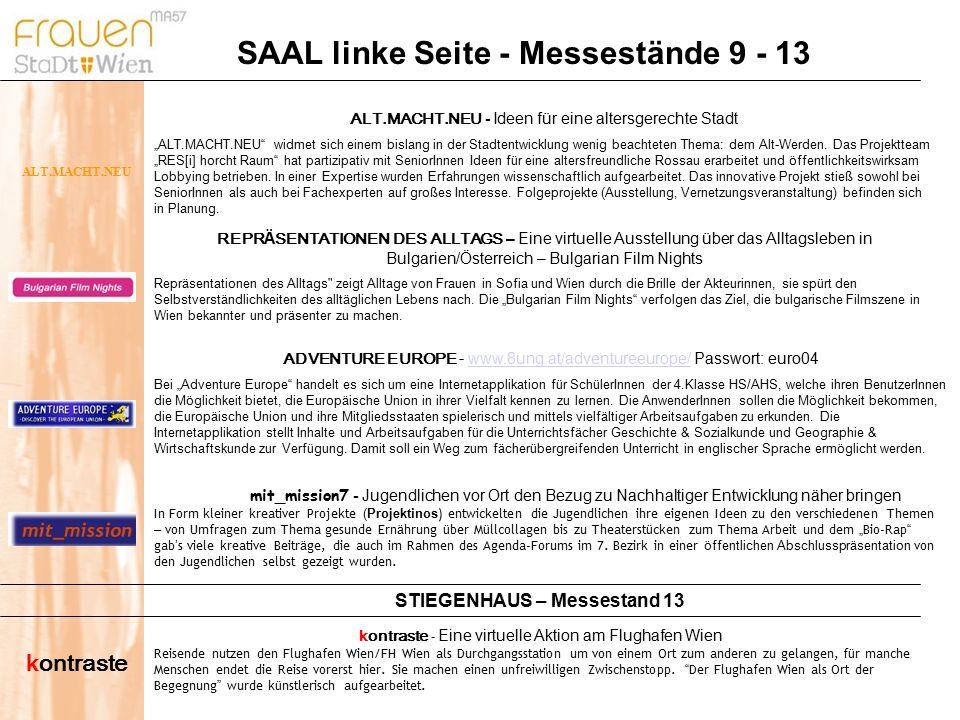 SAAL linke Seite - Messestände 9 - 13 kontraste - Eine virtuelle Aktion am Flughafen Wien Reisende nutzen den Flughafen Wien/FH Wien als Durchgangsstation um von einem Ort zum anderen zu gelangen, f ü r manche Menschen endet die Reise vorerst hier.