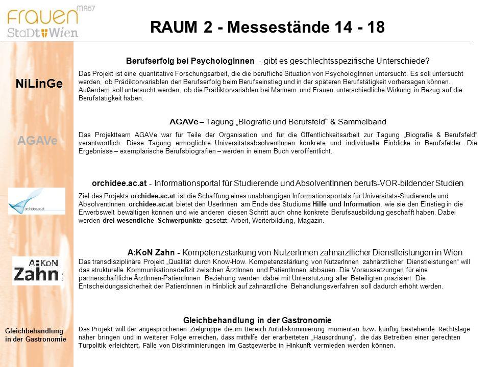 RAUM 2 - Messestände 14 - 18 Gleichbehandlung in der Gastronomie Das Projekt will der angesprochenen Zielgruppe die im Bereich Antidiskriminierung momentan bzw.
