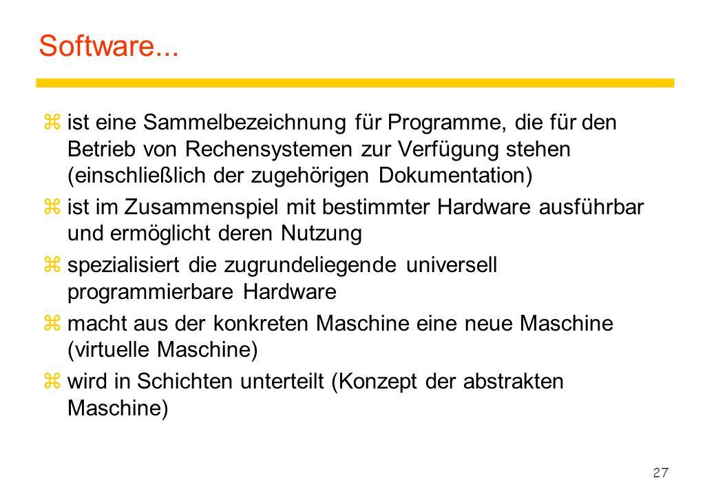 27 Software... zist eine Sammelbezeichnung für Programme, die für den Betrieb von Rechensystemen zur Verfügung stehen (einschließlich der zugehörigen