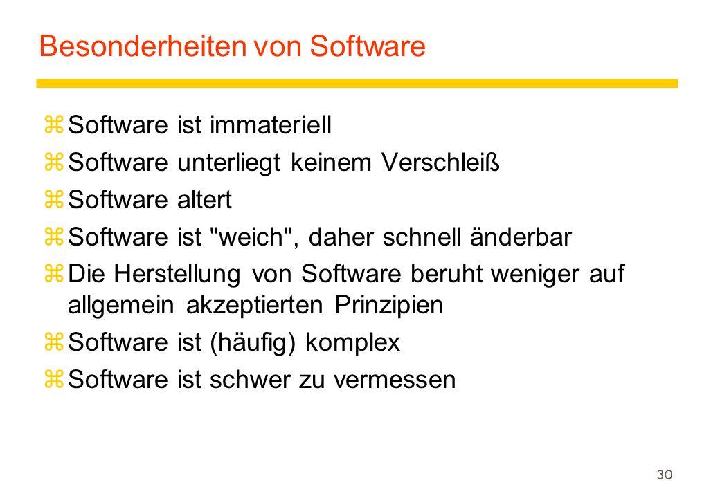30 Besonderheiten von Software zSoftware ist immateriell zSoftware unterliegt keinem Verschleiß zSoftware altert zSoftware ist weich , daher schnell änderbar zDie Herstellung von Software beruht weniger auf allgemein akzeptierten Prinzipien zSoftware ist (häufig) komplex zSoftware ist schwer zu vermessen