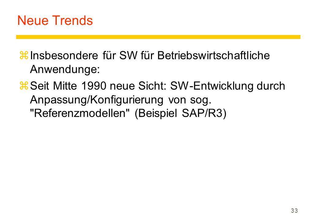 33 Neue Trends zInsbesondere für SW für Betriebswirtschaftliche Anwendunge: zSeit Mitte 1990 neue Sicht: SW-Entwicklung durch Anpassung/Konfigurierung von sog.