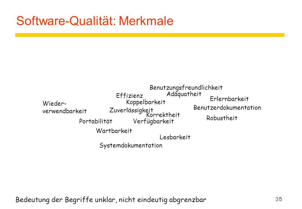 35 Software-Qualität: Merkmale Bedeutung der Begriffe unklar, nicht eindeutig abgrenzbar Benutzungsfreundlichkeit Effizienz Zuverlässigkeit Korrektheit Robustheit Erlernbarkeit Systemdokumentation Wieder- verwendbarkeit Benutzerdokumentation Wartbarkeit Portabilität Koppelbarkeit Adäquatheit Verfügbarkeit Lesbarkeit
