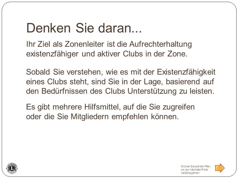 Ihr Ziel als Zonenleiter ist die Aufrechterhaltung existenzfähiger und aktiver Clubs in der Zone. Denken Sie daran... Sobald Sie verstehen, wie es mit