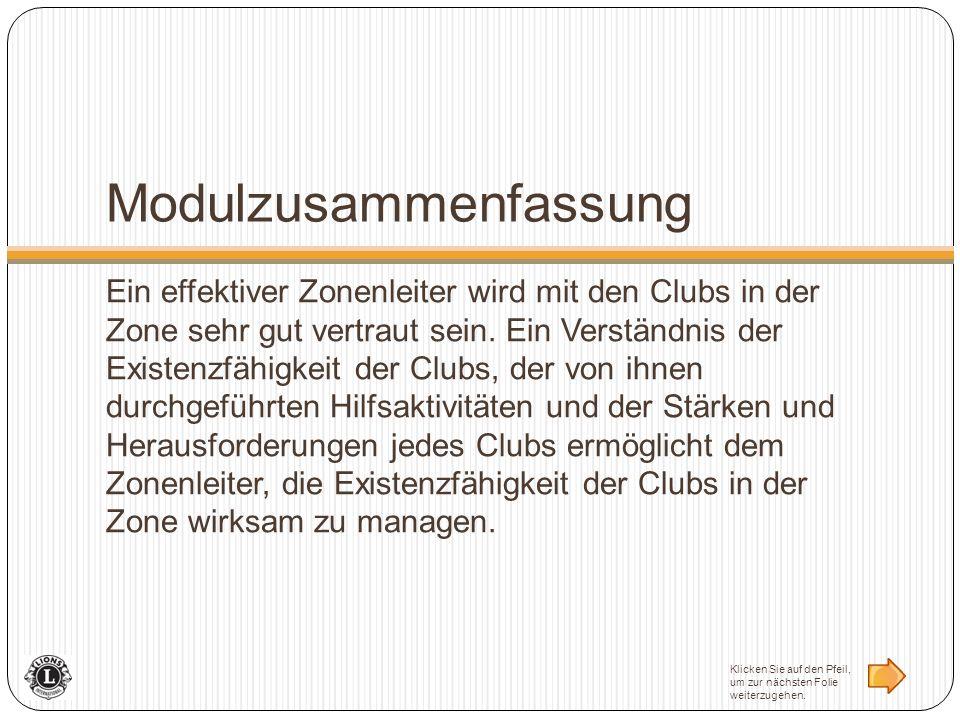 Modulzusammenfassung Ein effektiver Zonenleiter wird mit den Clubs in der Zone sehr gut vertraut sein. Ein Verständnis der Existenzfähigkeit der Clubs