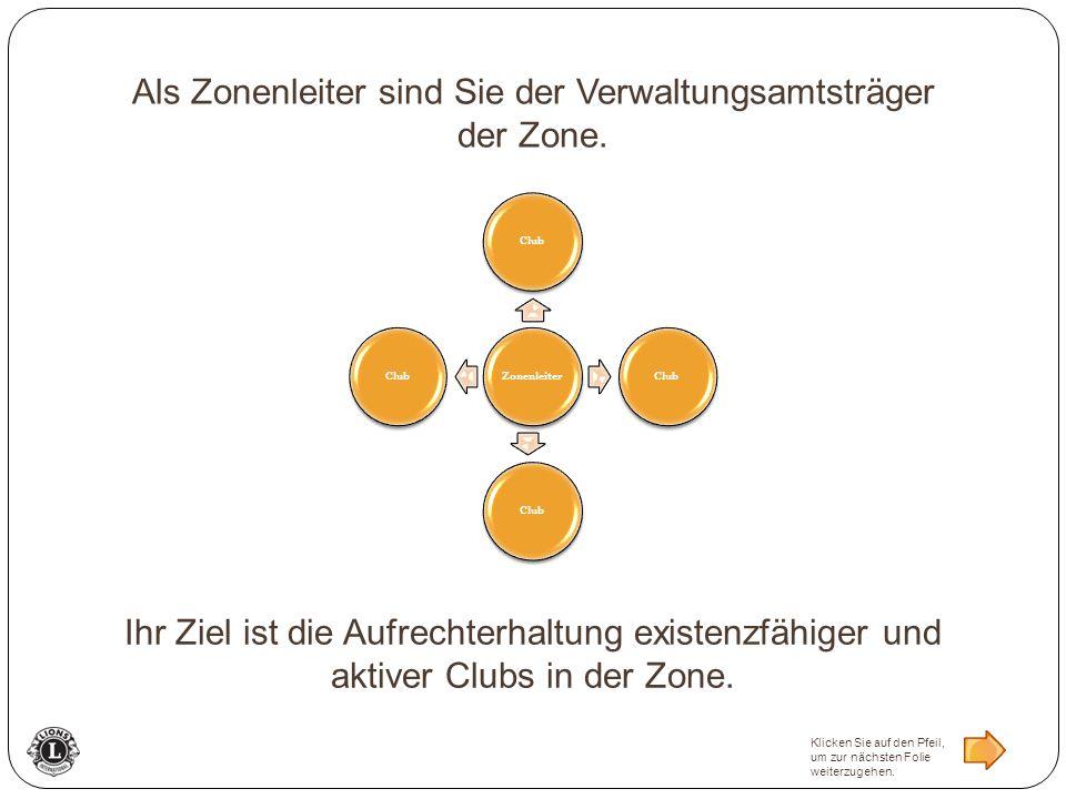 ZonenleiterClub Als Zonenleiter sind Sie der Verwaltungsamtsträger der Zone. Ihr Ziel ist die Aufrechterhaltung existenzfähiger und aktiver Clubs in d