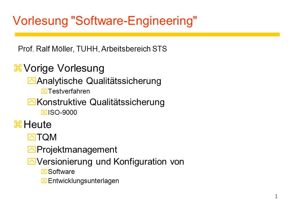 1 Vorlesung Software-Engineering zVorige Vorlesung yAnalytische Qualitätssicherung xTestverfahren yKonstruktive Qualitätssicherung xISO-9000 zHeute yTQM yProjektmanagement yVersionierung und Konfiguration von xSoftware xEntwicklungsunterlagen Prof.