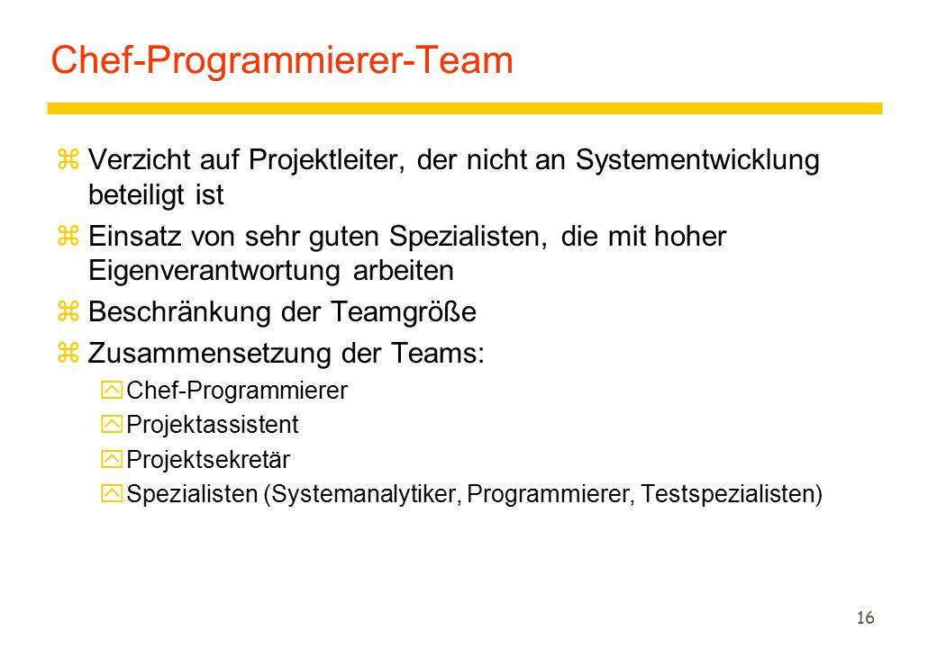 16 Chef-Programmierer-Team zVerzicht auf Projektleiter, der nicht an Systementwicklung beteiligt ist zEinsatz von sehr guten Spezialisten, die mit hoher Eigenverantwortung arbeiten zBeschränkung der Teamgröße zZusammensetzung der Teams: yChef-Programmierer yProjektassistent yProjektsekretär ySpezialisten (Systemanalytiker, Programmierer, Testspezialisten)