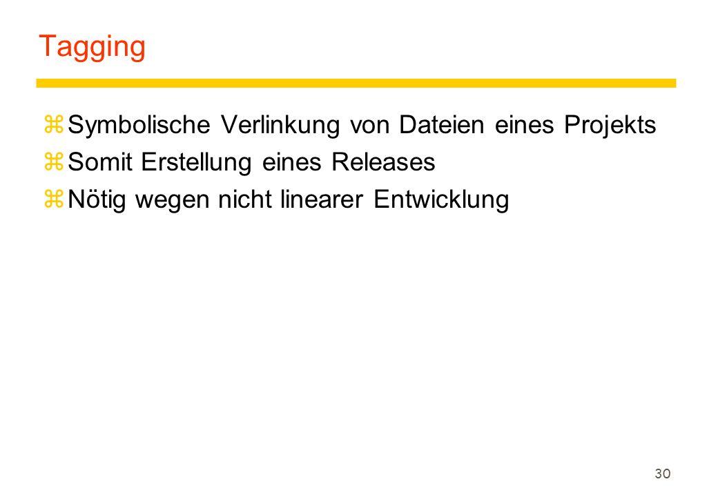 30 Tagging zSymbolische Verlinkung von Dateien eines Projekts zSomit Erstellung eines Releases zNötig wegen nicht linearer Entwicklung