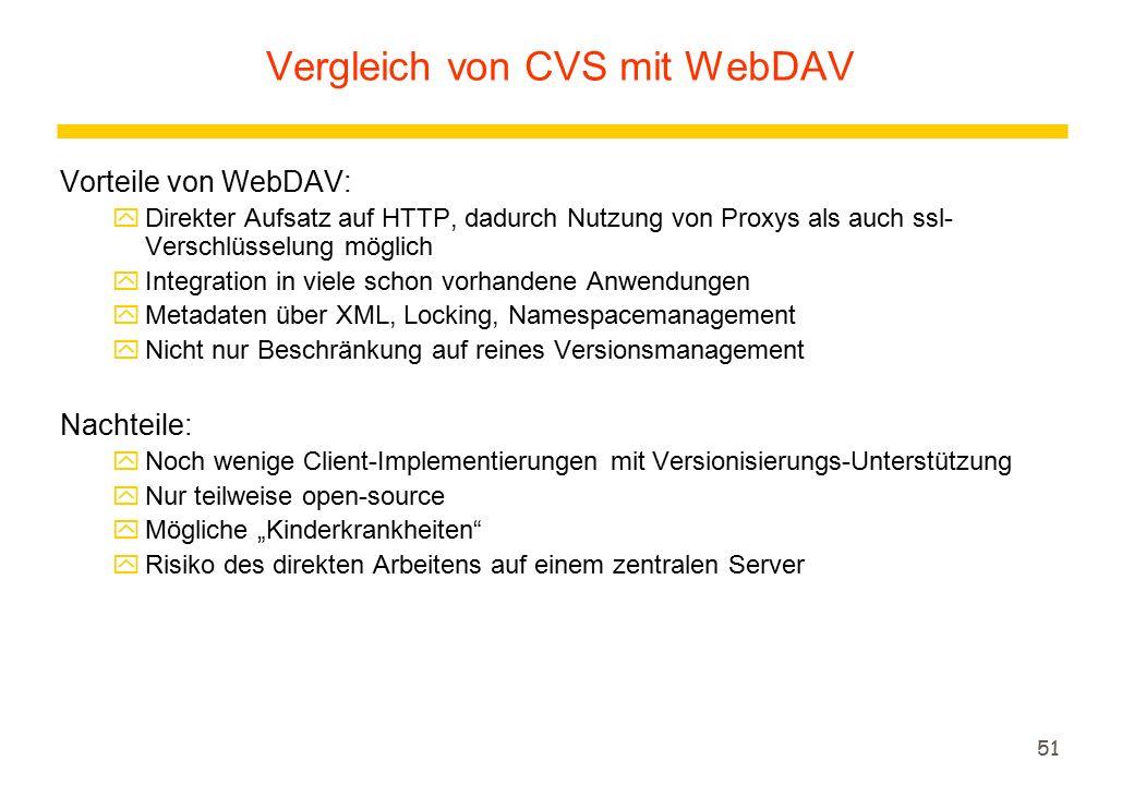 """51 Vorteile von WebDAV: yDirekter Aufsatz auf HTTP, dadurch Nutzung von Proxys als auch ssl- Verschlüsselung möglich yIntegration in viele schon vorhandene Anwendungen yMetadaten über XML, Locking, Namespacemanagement yNicht nur Beschränkung auf reines Versionsmanagement Nachteile: yNoch wenige Client-Implementierungen mit Versionisierungs-Unterstützung yNur teilweise open-source yMögliche """"Kinderkrankheiten yRisiko des direkten Arbeitens auf einem zentralen Server Vergleich von CVS mit WebDAV"""