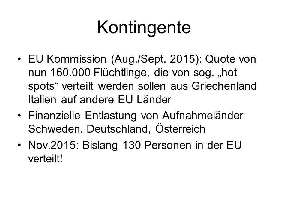 Kontingente EU Kommission (Aug./Sept.2015): Quote von nun 160.000 Flüchtlinge, die von sog.