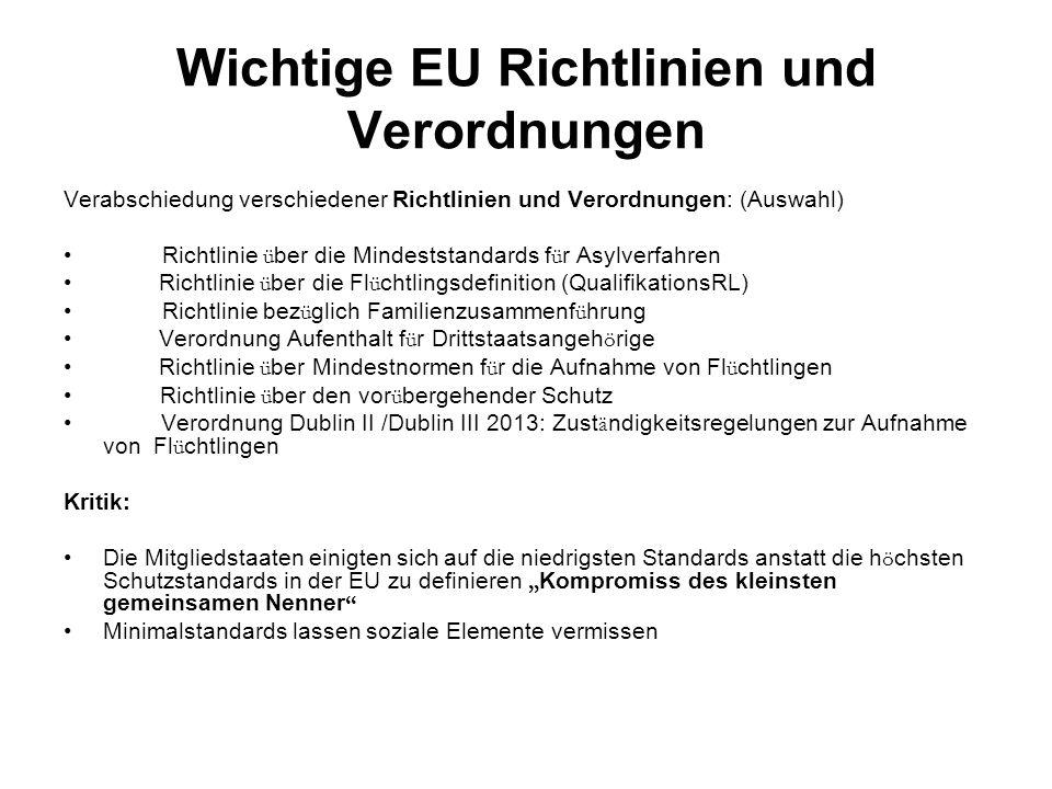 """Wichtige EU Richtlinien und Verordnungen Verabschiedung verschiedener Richtlinien und Verordnungen: (Auswahl) Richtlinie ü ber die Mindeststandards f ü r Asylverfahren Richtlinie ü ber die Fl ü chtlingsdefinition (QualifikationsRL) Richtlinie bez ü glich Familienzusammenf ü hrung Verordnung Aufenthalt f ü r Drittstaatsangeh ö rige Richtlinie ü ber Mindestnormen f ü r die Aufnahme von Fl ü chtlingen Richtlinie ü ber den vor ü bergehender Schutz Verordnung Dublin II /Dublin III 2013: Zust ä ndigkeitsregelungen zur Aufnahme von Fl ü chtlingen Kritik: Die Mitgliedstaaten einigten sich auf die niedrigsten Standards anstatt die h ö chsten Schutzstandards in der EU zu definieren """" Kompromiss des kleinsten gemeinsamen Nenner Minimalstandards lassen soziale Elemente vermissen"""