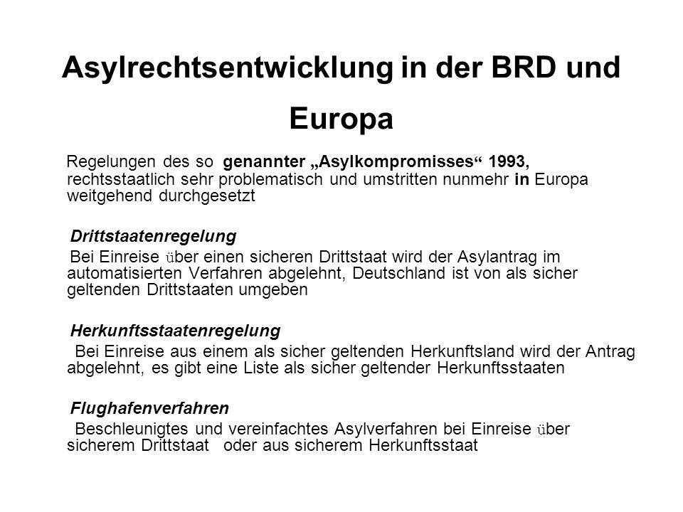 """Asylrechtsentwicklung in der BRD und Europa Regelungen des so genannter """" Asylkompromisses 1993, rechtsstaatlich sehr problematisch und umstritten nunmehr in Europa weitgehend durchgesetzt Drittstaatenregelung Bei Einreise ü ber einen sicheren Drittstaat wird der Asylantrag im automatisierten Verfahren abgelehnt, Deutschland ist von als sicher geltenden Drittstaaten umgeben Herkunftsstaatenregelung Bei Einreise aus einem als sicher geltenden Herkunftsland wird der Antrag abgelehnt, es gibt eine Liste als sicher geltender Herkunftsstaaten Flughafenverfahren Beschleunigtes und vereinfachtes Asylverfahren bei Einreise ü ber sicherem Drittstaat oder aus sicherem Herkunftsstaat"""